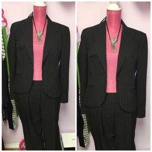 Black striped pant suit